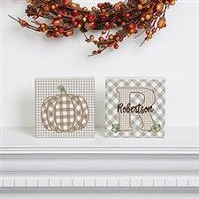 Personalized Shelf Blocks - Fall Plaid Pumpkin - 21166