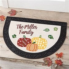 Personalized Half Round Doormats - Plaid Pumpkin - 21176
