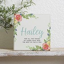 Floral Baby Nursery Decor Personalized Shelf Block - 21184
