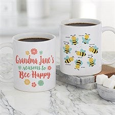 Bee Happy Personalized Bee Coffee Mugs - 21284