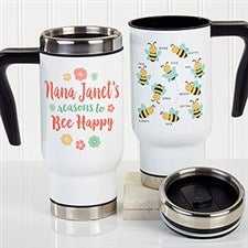 Bee Happy Personalized Bee Travel Mugs - 21285