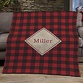 Cozy Cabin Personalized Buffalo Check Blankets - 21303