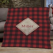 Cozy Cabin Personalized Buffalo Check Blankets - 21303