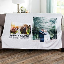 Personalized 2 Photo Collage Wedding Blankets - 21342