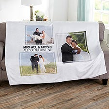 3 Photo Collage Personalized Wedding Blankets - 21343