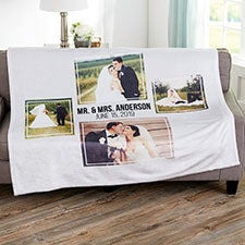 Wedding 4 Photo Collage Personalized Blankets - 21344