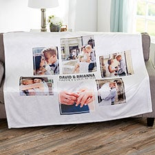 6 Photo Collage Personalized Wedding Blankets - 21347