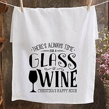 Personalized Bar Towels - Always Time For Wine - 21367