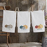 Personalized Flour Sack Towels - Plaid Pumpkins - 21373