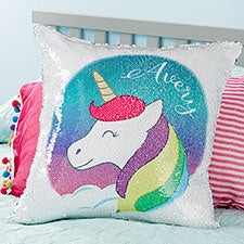 Personalized Reversible Sequin Unicorn Throw Pillow - 21432