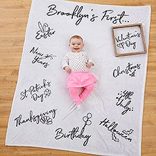 Personalized Baby's First Holiday Milestone Blanket - 21433