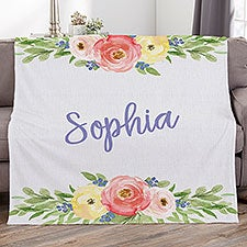 Floral Personalized Blankets - 21434