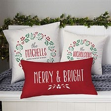 Personalized Christmas Throw Pillows - Holiday Wreath - 21439