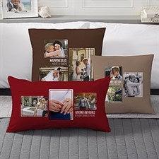 Wedding Photo Collage - Custom 3 Photo Throw Pillows - 21466