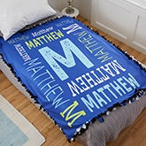 Personalized Fleece Tie Blanket - Repeating Boy Name - 21475
