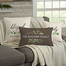 Greenery Welcome Personalized Throw Pillows - 21482