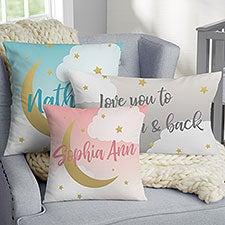 Personalized Nursery Throw Pillows - Over The Moon - 21486