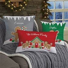 Personalized Christmas Throw Pillows - Gingerbread Family - 21536
