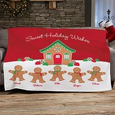 Gingerbread Family Personalized Blankets - 21538