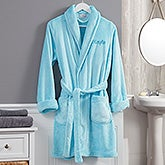 Classic Embroidered Short Fleece Robe - 21547
