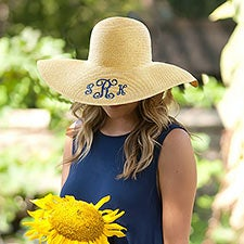Women's Embroidered Monogrammed Floppy Hat - 21584