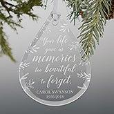 Memorial Teardrop Engraved Glass Ornament - 21666