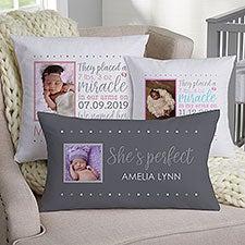 Baby Girl Story Personalized Photo Pillow Baby Keepsake - 21688