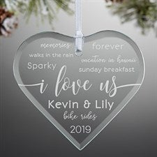 I Love Us Engraved Glass Heart Ornament - 21693