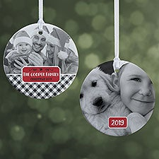 Farmhouse Christmas Buffalo Plaid Photo Ornaments - 21703