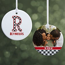 Buffalo Plaid Monogram Photo Ornaments - 21708