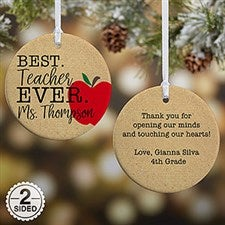 Best Teacher Ever - Personalized Teacher Ornaments - 21710