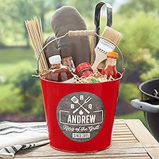 BBQ Time Personalized Metal Bucket - Grilling Gift - 21761