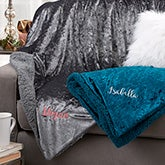 Crushed Velvet Personalized Throw Blankets - 21789
