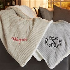 Classic Cable Knit Personalized Throw Blanket - 21790