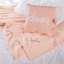 Personalized Shimmer Throw Blanket & Mermaid Pillow Set - 21794