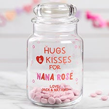 Hugs & Kisses Personalized Candy Jar - 21830