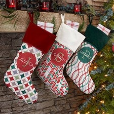Geometric Pattern Personalized Christmas Stockings - 21848
