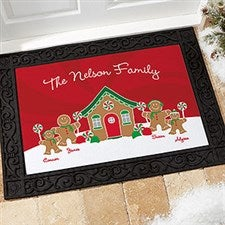 Personalized Christmas Doormats - Gingerbread Family - 21868