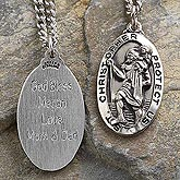 Custom Engraved St. Christopher Pendant for Kids - 2187