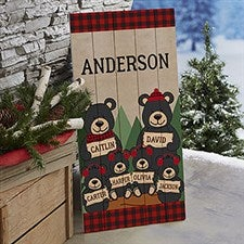 Holiday Bear Family Personalized Wood Porch Sign - 21870