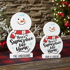 Snowplace Like Home Personalized Wood Snowman Decorations - 21876