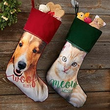 Dog & Cat Personalized Pet Photo Christmas Stockings - 21884