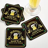 Personalized Irish Pub Beer Mug Coasters - 2189
