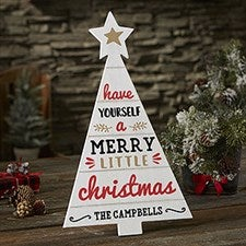 Farmhouse Christmas Personalized Wood Tree Decor - 21890