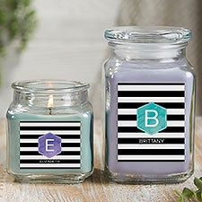 Personalized Scented Glass Candle Jar - Modern Stripe - 21895