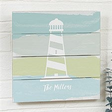Seaside Swatch Lighthouse Personalized Wooden Shiplap Signs - 21900