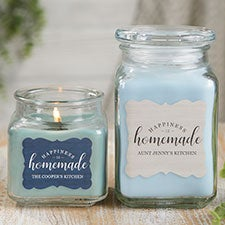 Happiness Is Homemade Personalized Scented Glass Candle Jar - 21906