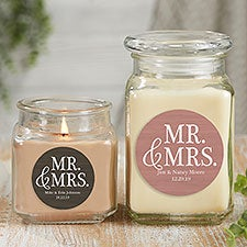 Personalized Mr & Mrs Wedding Candle Jars - 21912