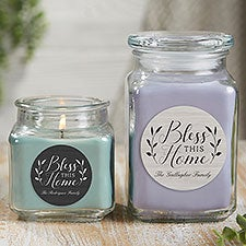 Bless This Home Personalized Scented Candle Jars - 21913