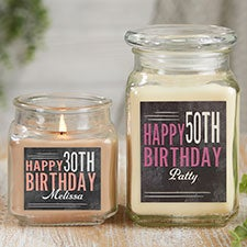 Vintage Birthday Personalized Scented Glass Candle Jar - 21915